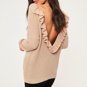 MissGuided Carmel Open Back Sweater